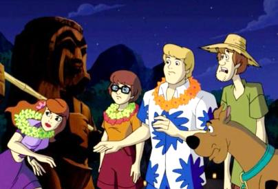 ALOHA SCOOBY DOO Gang with tiki