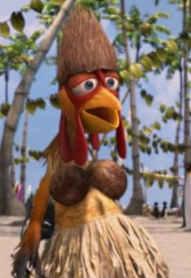 SURF'S UP Chicken in wahine hula outfit